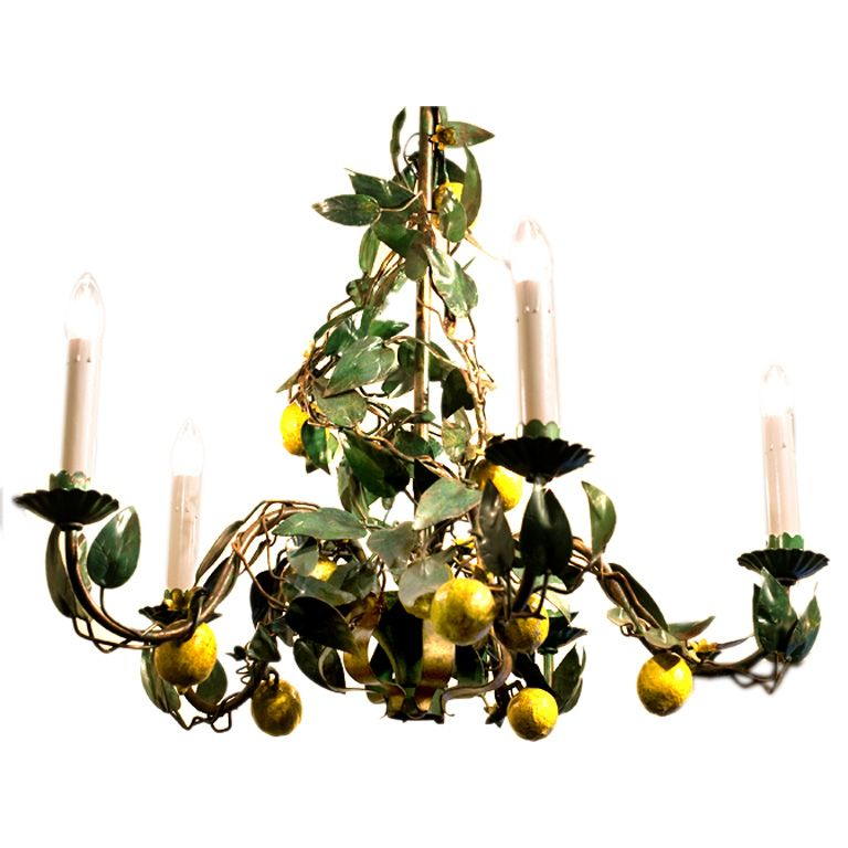 Italian tole lemon chandelier with 5 arms chandeliers lantern italian tole lemon chandelier with mozeypictures Image collections