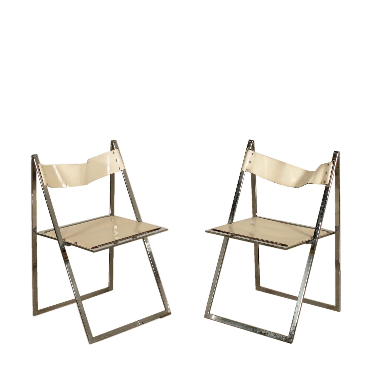 Pair Of Folding Chairs For Elios Colle D Elsa Vintage Italy 1970s