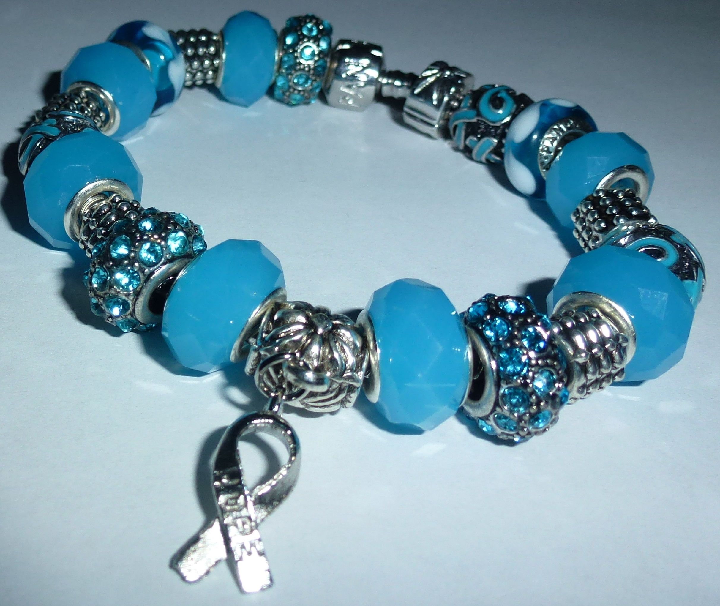 European Bracelet Light Blue Ribbon Prostate Cancer Trisomy 18 Addison S Disease 25 00