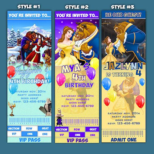 Custom Beauty and the Beast ticket style Birthday Invitations – Beauty and the Beast Party Invitations