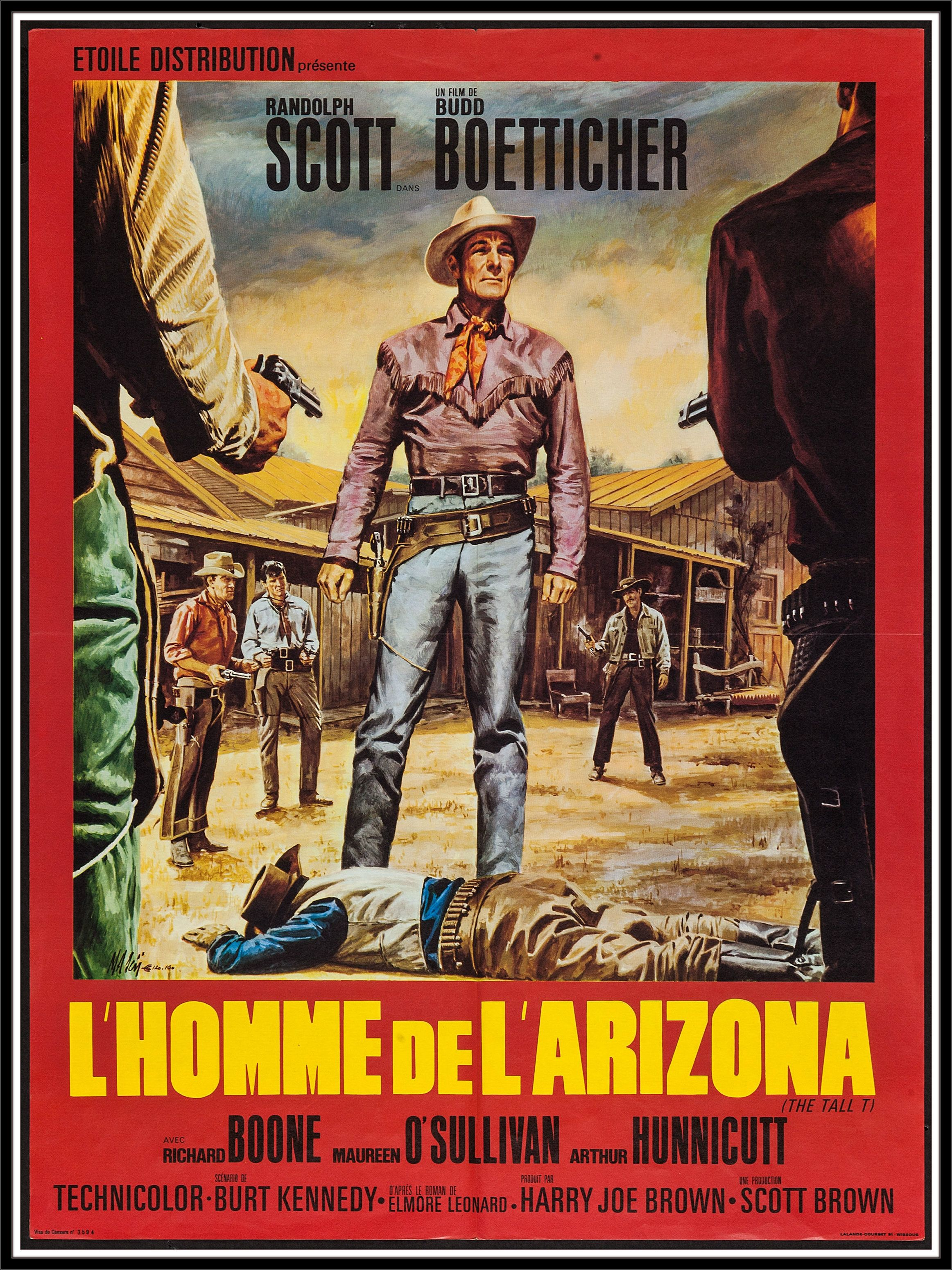 French Western Movie Posters The Tall T Columbia 1957 French Affiche 23 5 X 31 5 Western Western Movies Movie Posters Vintage Randolph Scott