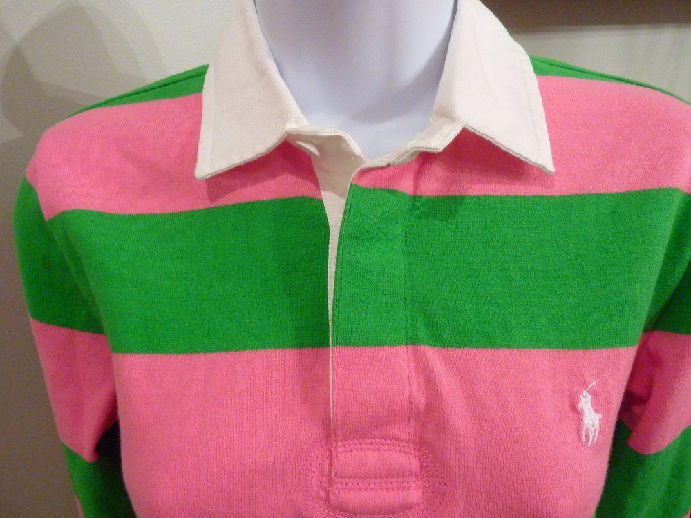 Shirt Pink Womens Ls Lauren Ralph Green Awning Polo Stripe Rugby OkXZuiTP