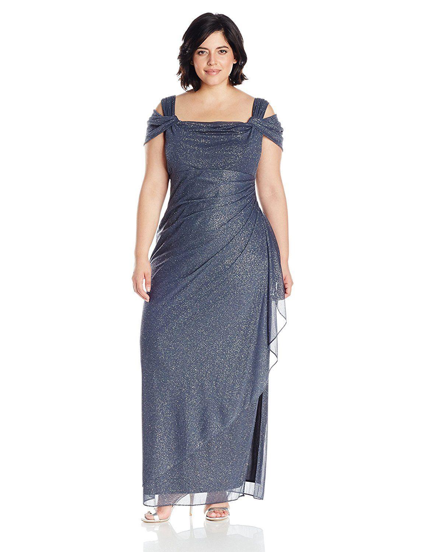 1448d51ceceb3 Alex Evenings Women s Plus Size Long Cold Shoulder Dress   Additional  details at the pin image