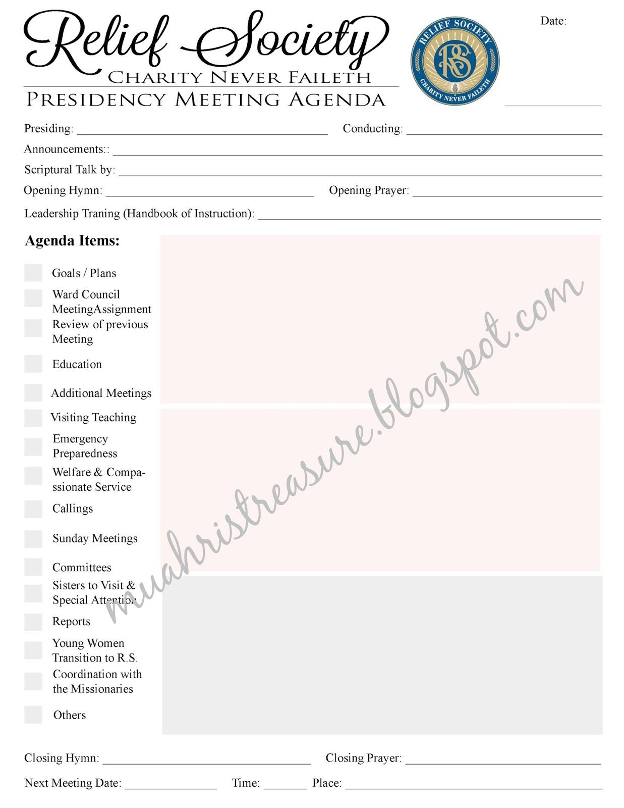I Made A Meeting Agenda For The Relief Society Presidency It Has