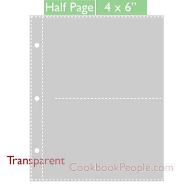half page 4x6 recipe card protectors for 3 ring binder 20ea recipe