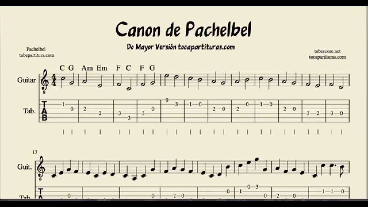 Pachelbel S Canon Tabs Sheet Music For Guitar In C Major
