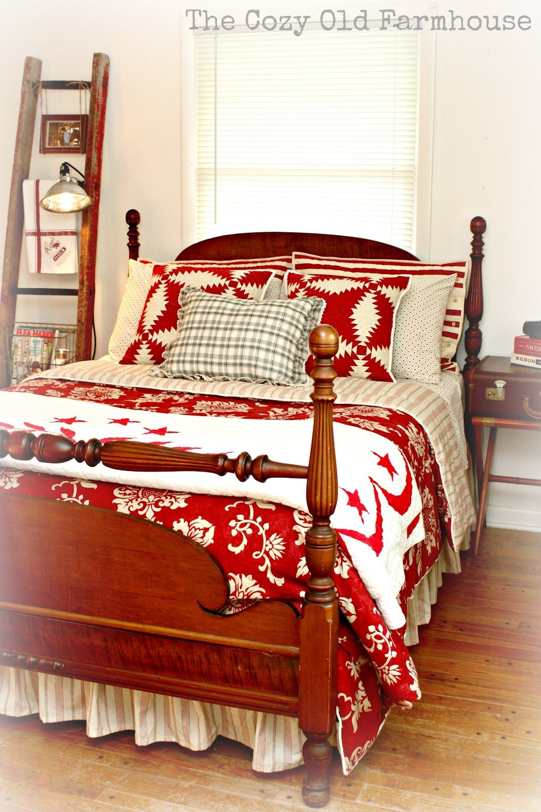 """The Cozy Old """"Farmhouse"""" New Sheets Check Bedroom red"""