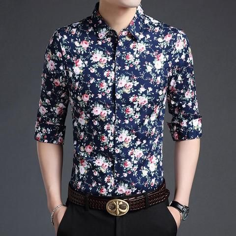 e902379d6618e New arrival autumn mens flowers dress shirt 100% cotton male shirt long  sleeve floral printed man shirts free shipping