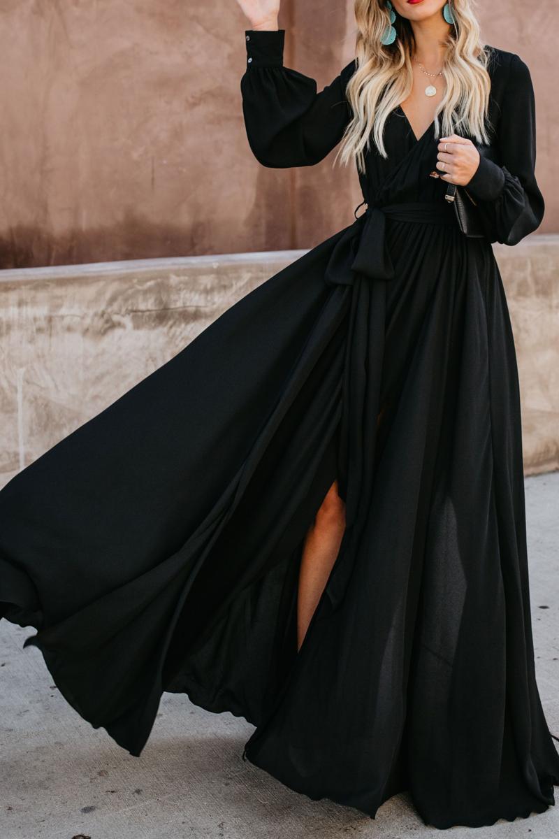 Sexy Deep V Collar Plain Slim Slit Evening Dress