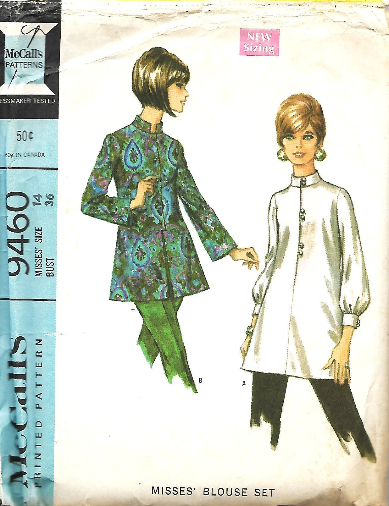 1960\'s McCall\'s 9460, Misses Blouse Set Sewing Pattern, Nehru Blouse ...