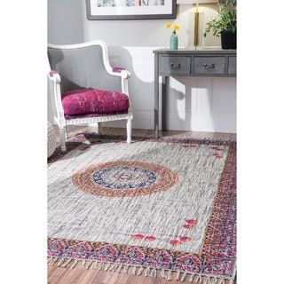 For Nuloom Handmade Flatweave Medallion Cotton Fringe Grey Rug 5 X 8 Get Free Shipping At Your Online Home Decor Outlet S