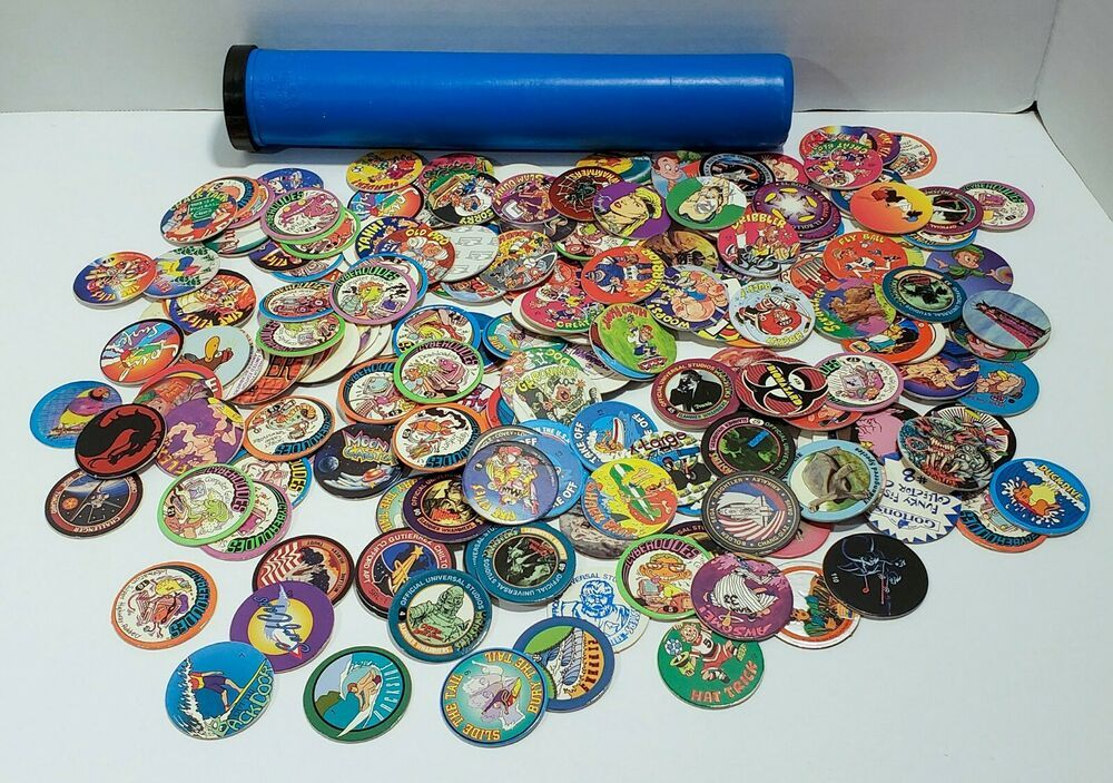 Lot of 200+ POGS & Tube From 1990's and Earlier Monsters