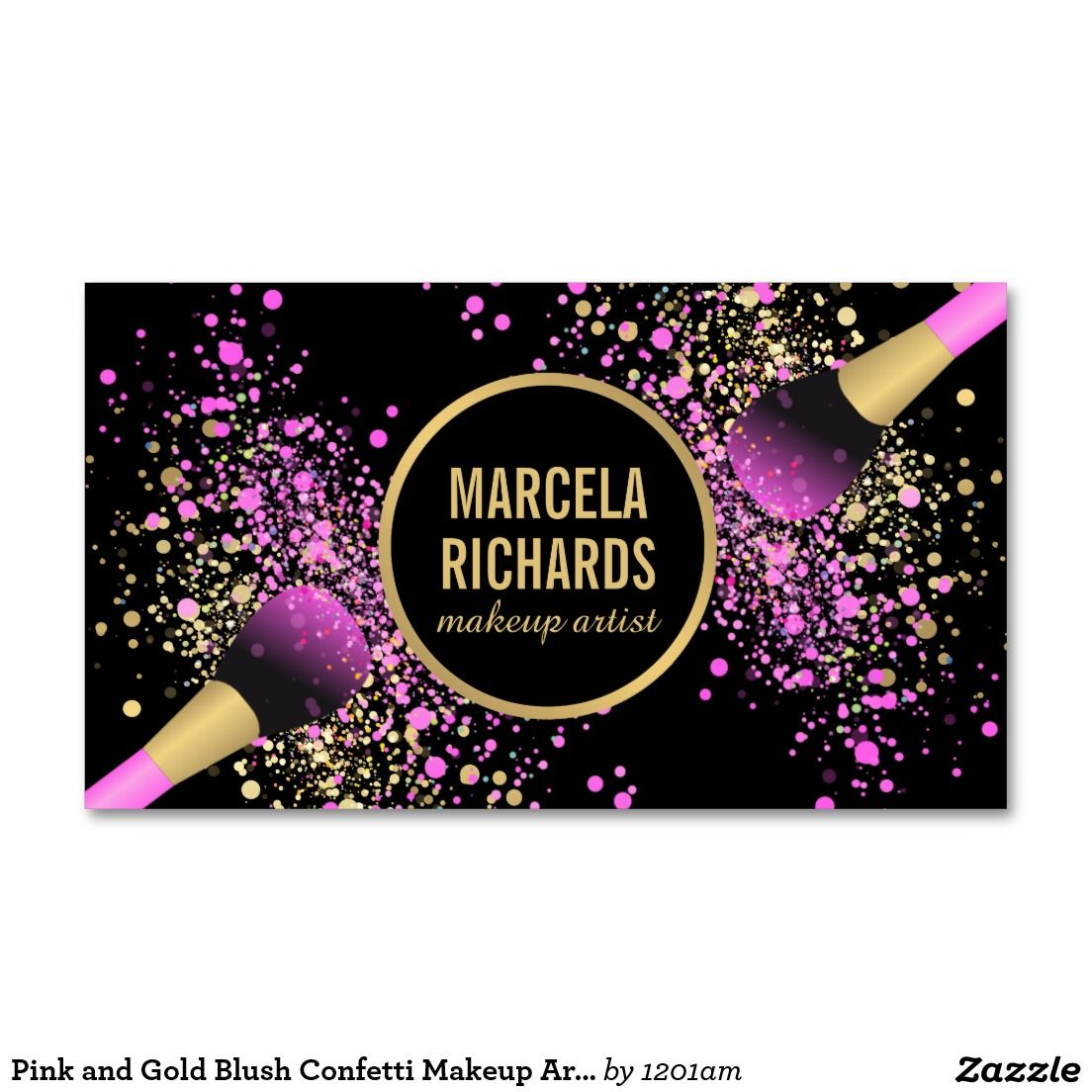 Pink and Gold Blush Confetti Makeup Artist Business Card