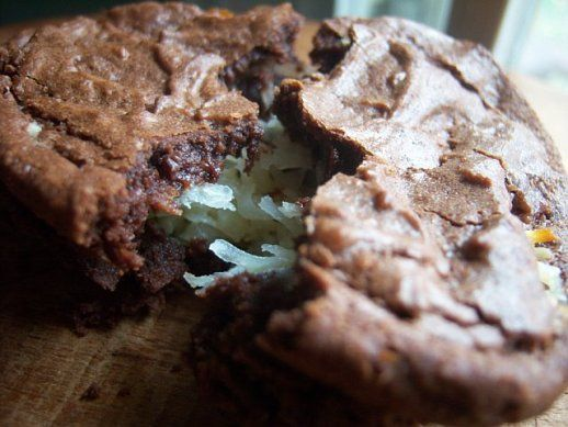 perfect brownies stuffed with gooey coconut