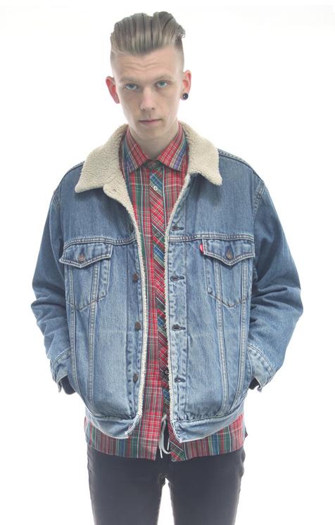 3a550149eea levi s denim sherpa jacket Sheepskin Denim Jacket