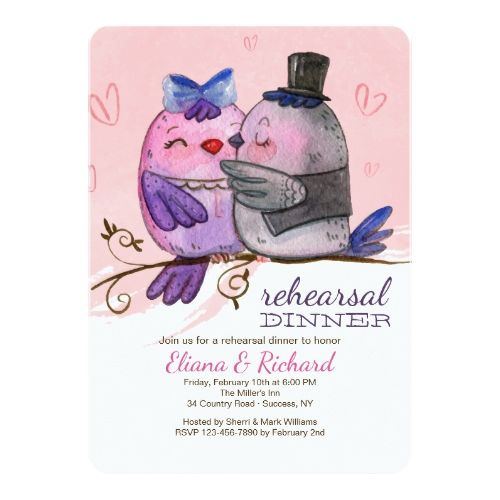 Love bird rehearsal dinner watercolor bird couple invitation love love bird rehearsal dinner watercolor bird couple invitation stopboris Gallery