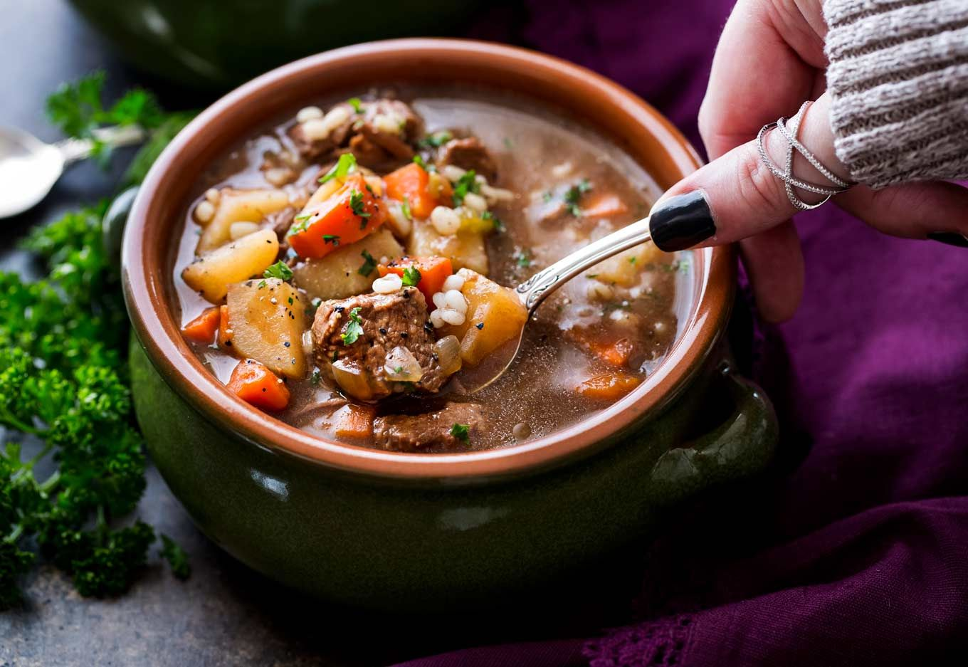 Hearty and positively soulwarming, this beef barley soup