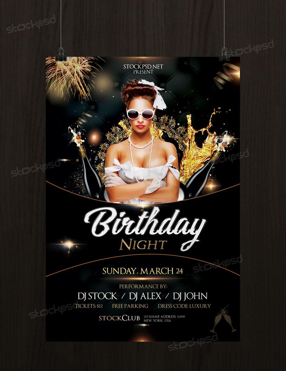 Birthday Gold Night Free Luxury Psd Flyer Template Birthday Flyer Free Psd Flyer Templates Free Psd Flyer