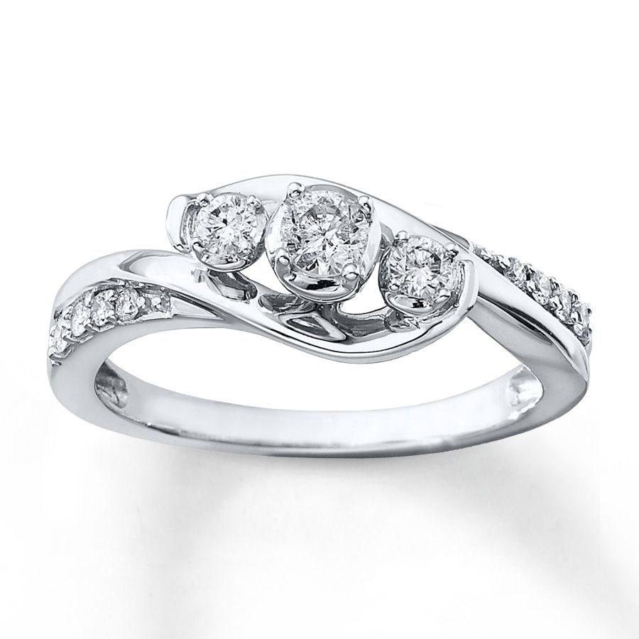 3-Stone Round Diamond Engagement Ring White Gold Twist Swirl Four-Prong  Traditional Bypass