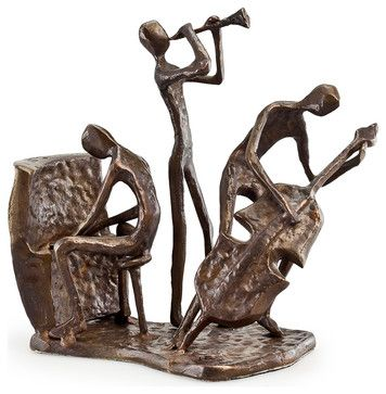 Musician Trio On Base Bronze Sculpture Contemporary Decorative Objects And Figurines