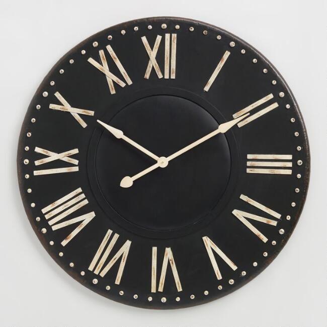 Distressed Black Iron Wall Clock V1 Clock Iron Wall Wall Clock