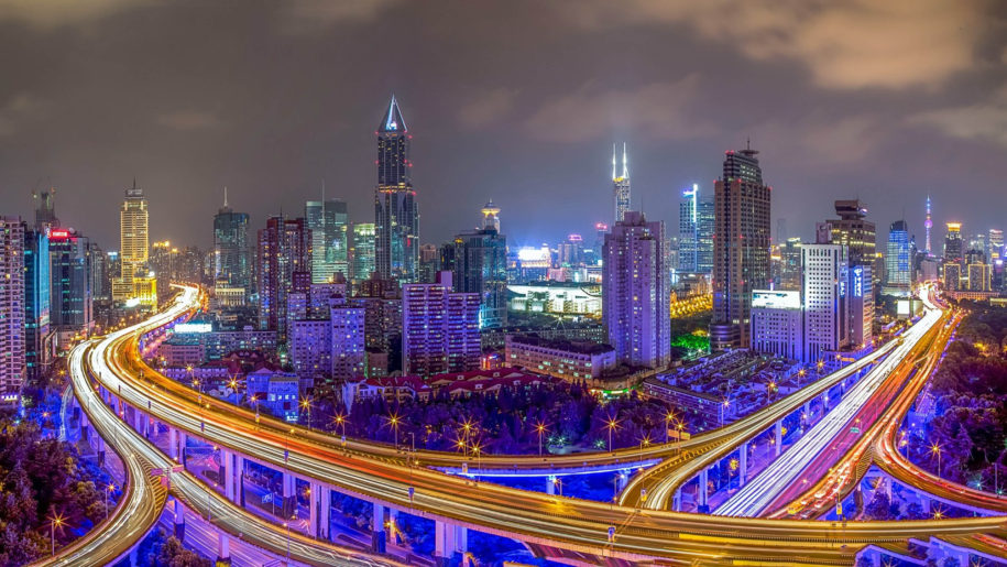 Shanghai China Nanpu Bridge Night Photography 4k Ultra Hd