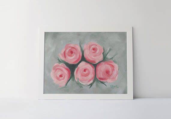 Rose Flower Art Print Of Mon Cœur 8x10 Oil On Canvas Paper