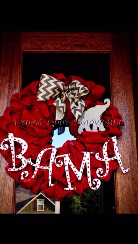 BAMA Alabama Football Burlap Wreath, Roll Tide, Game Day, SEC, Fall Wreath, Door Decor, Chevron, College Football by Frontdoorshowcase on Etsy https://www.etsy.com/listing/200958910/bama-alabama-football-burlap-wreath-roll