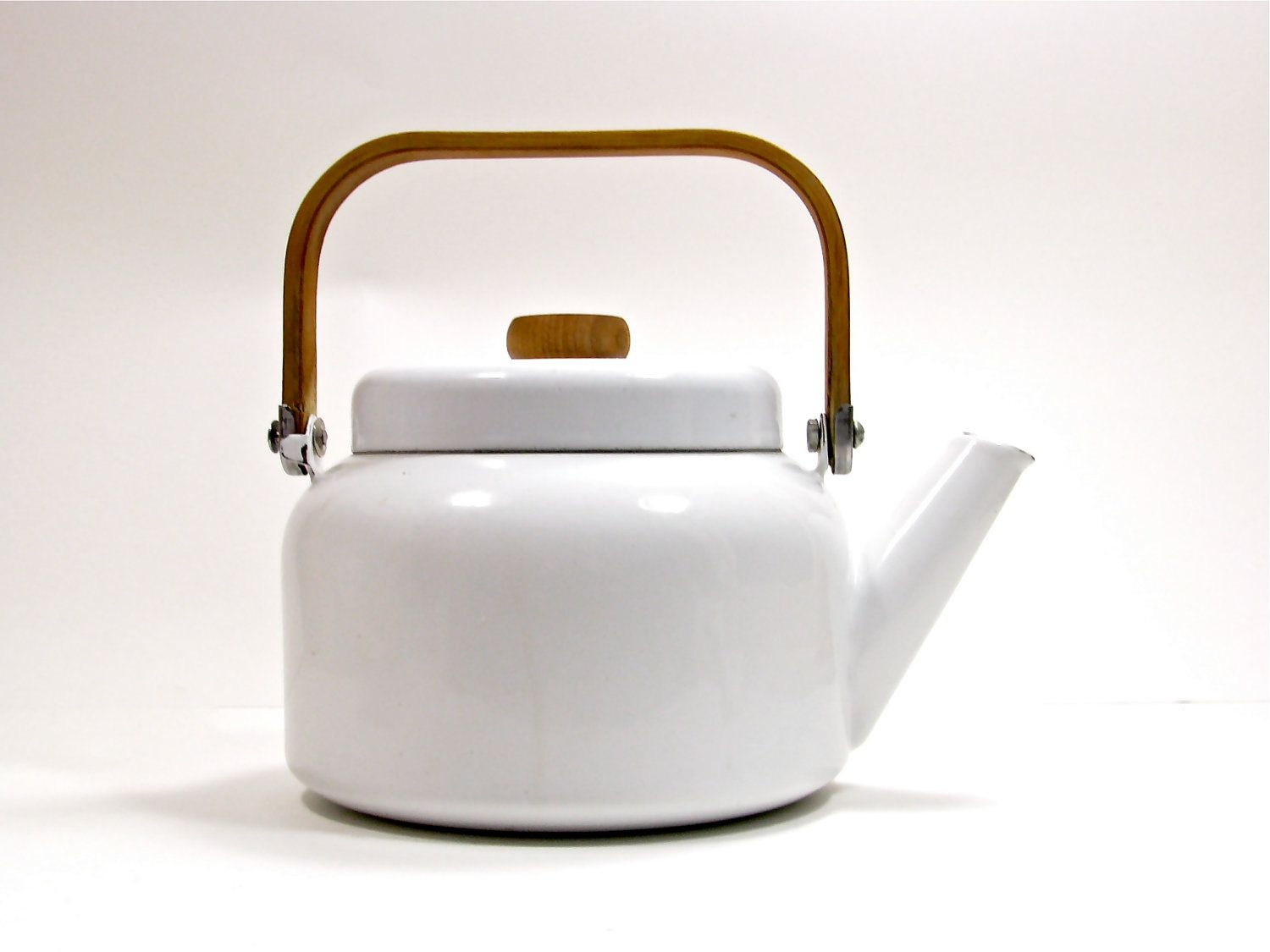 Vintage Enamel Kitchen Kettle White With Wood Handle Reserved Modern Kettles Kettle Traditional Teapots