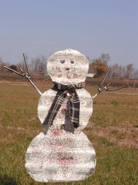 Tin Snowman Barn Tin Metal Yard Art Tin Art