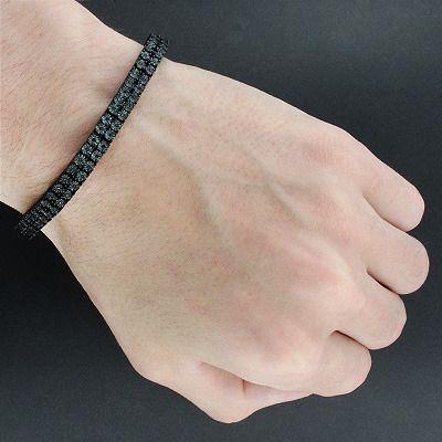 Mens Black Diamond Bracelet 0 50ct Black Pvd Sterling Silver Black Diamond Bracelet Bracelets For Men Tennis Bracelet Diamond