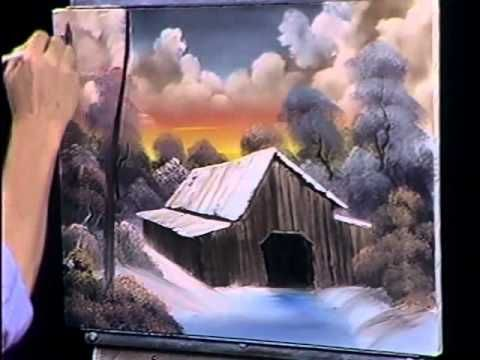 Bob Ross tutorial....painting a barn at sunset. He is so soft spoken, love to hear him and never tire of watching his painting talent.