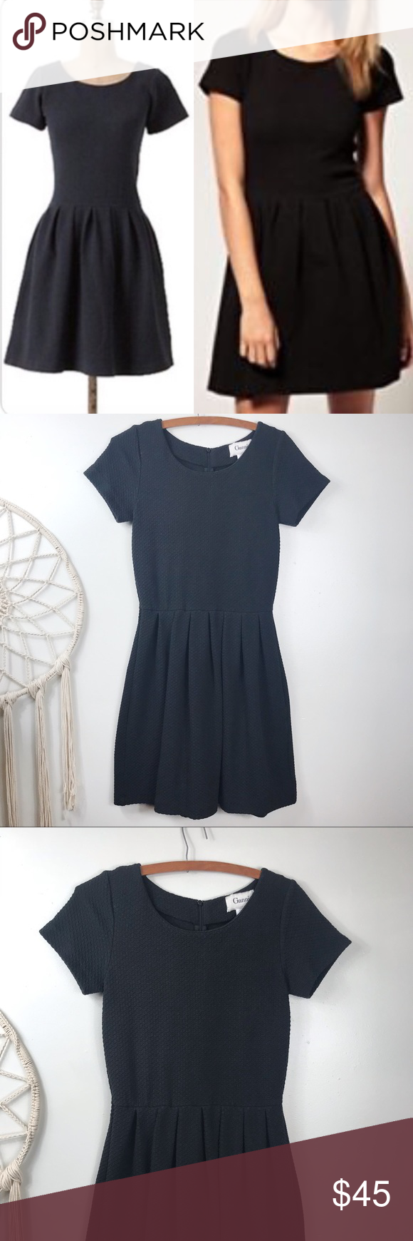 7f6ee7d6 Anthropologie Ganni Embossed Basket Dress Anthropologie Ganni Black Fit & Flare  Dress Textured black fabric. Back zip. Thick stretchy fabric. Size medium.