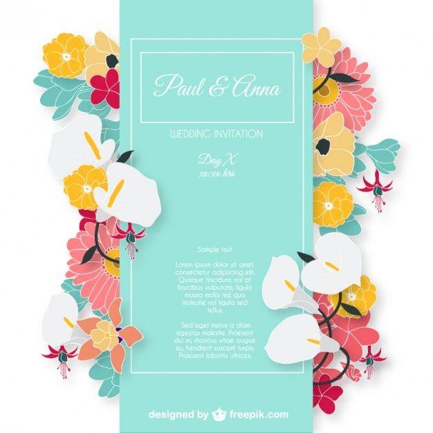 Cartão do convite do casamento com flores coloridas   Wedding ...