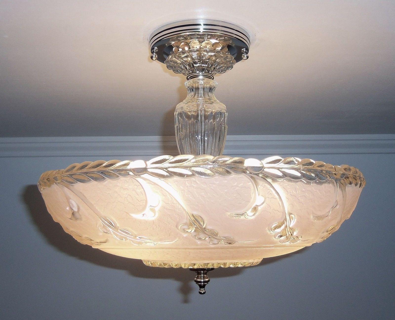 Antique 1930s40s vintage art deco pink glass ceiling