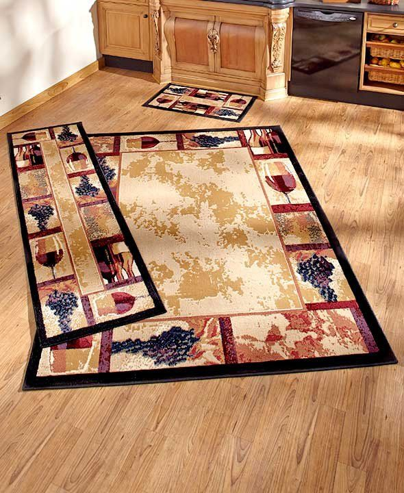 Tuscan Grape Themed Kitchen Rugs Accent Runner Area Stain Resistant