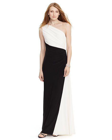 Color Blocked Jersey Gown Lauren Evening Dresses
