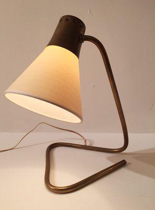 Lampe cocotte de Jean Boris Lacroix Laiton et abat jour tissu France