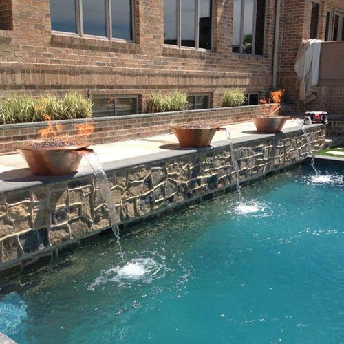 Customer Copper Fire And Water Bowls Custom Pools Fire Features Fire