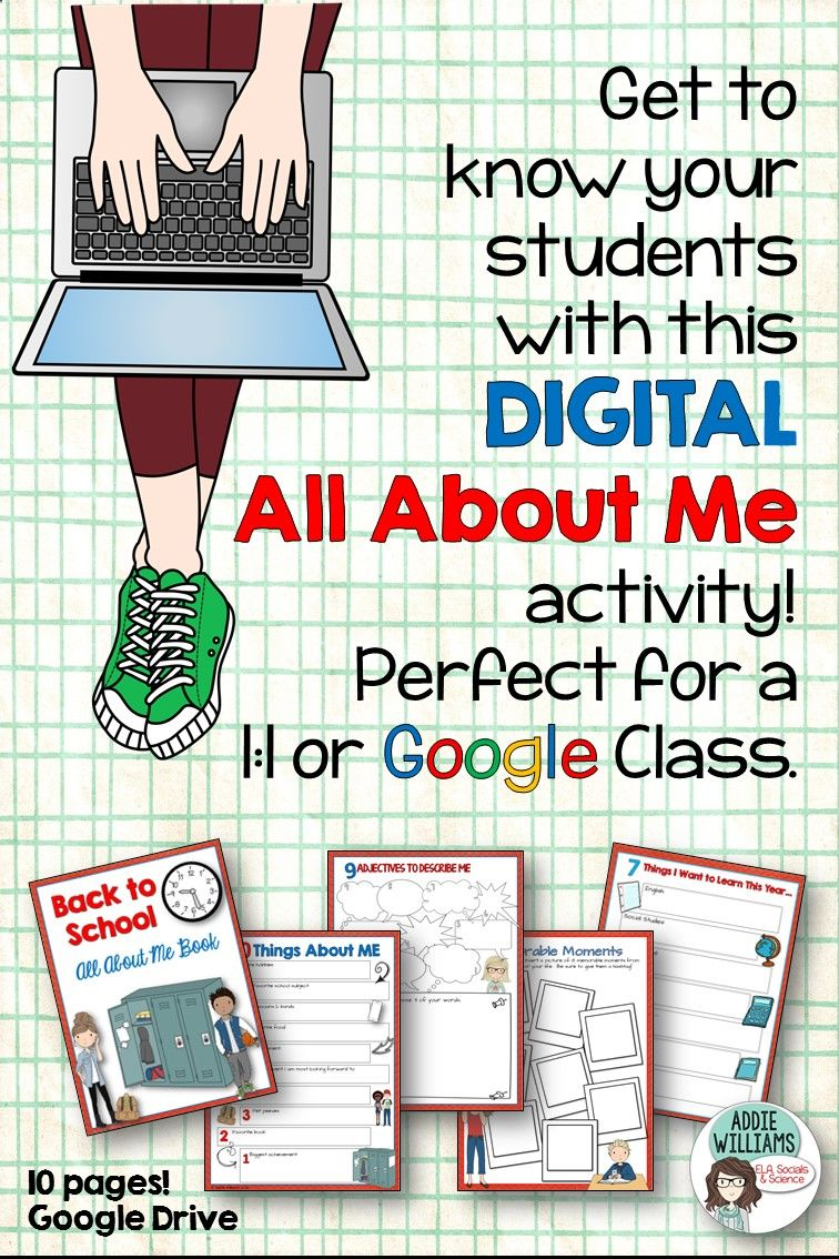 All About Me Digital Activity for Upper Elementary