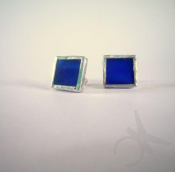 Orecchini a perno in vetro blu argento 925 di CONNYSKREATIONS, €20.00