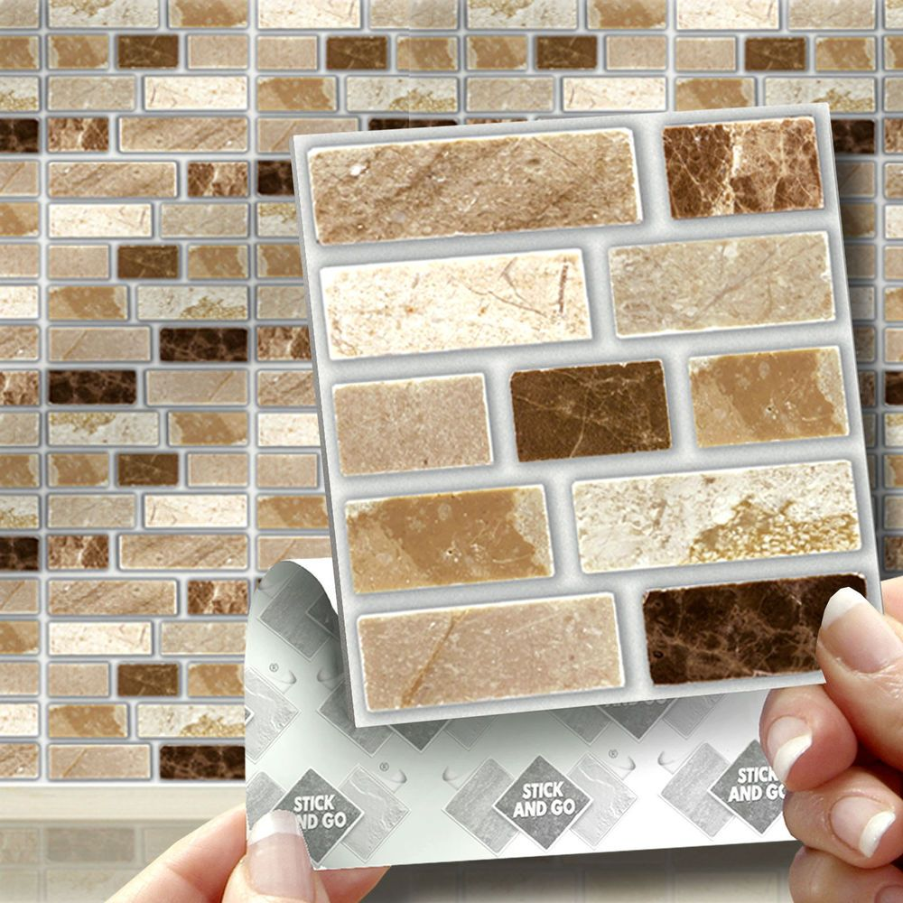 18 Peel, Stick & Go Stone Tablet Self Adhesive Wall Tiles Kitchens ...