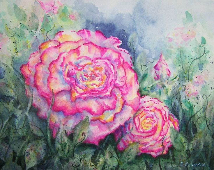 Buy Garden Of Roses  Pink Rose Loose Watercolor Garden Decor Or Room,  Watercolor By