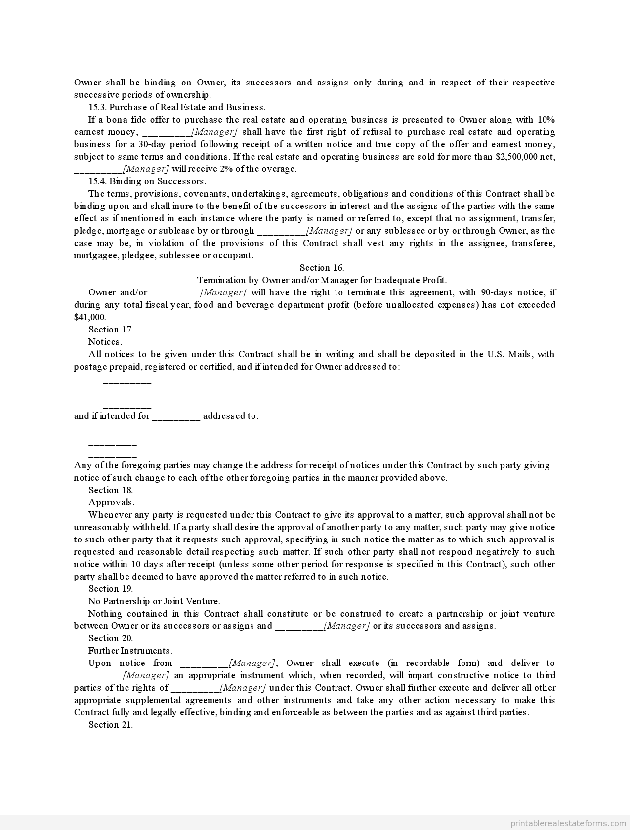 Printable management contract for major hotel with incentive ...
