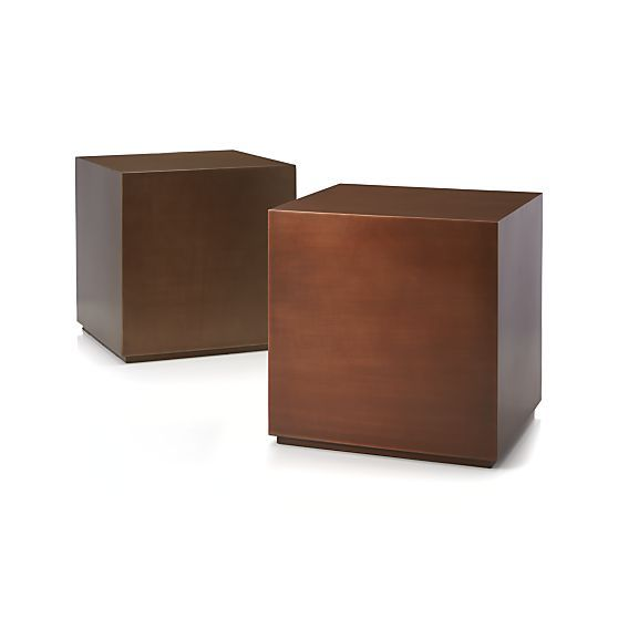 Patina Brass Cube in Coffee Tables Side Tables 229 each at Crate