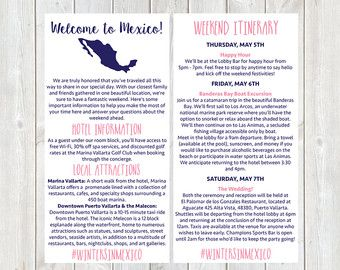 Mexico Welcome Letter Wedding Welcome Letter By Designandpop