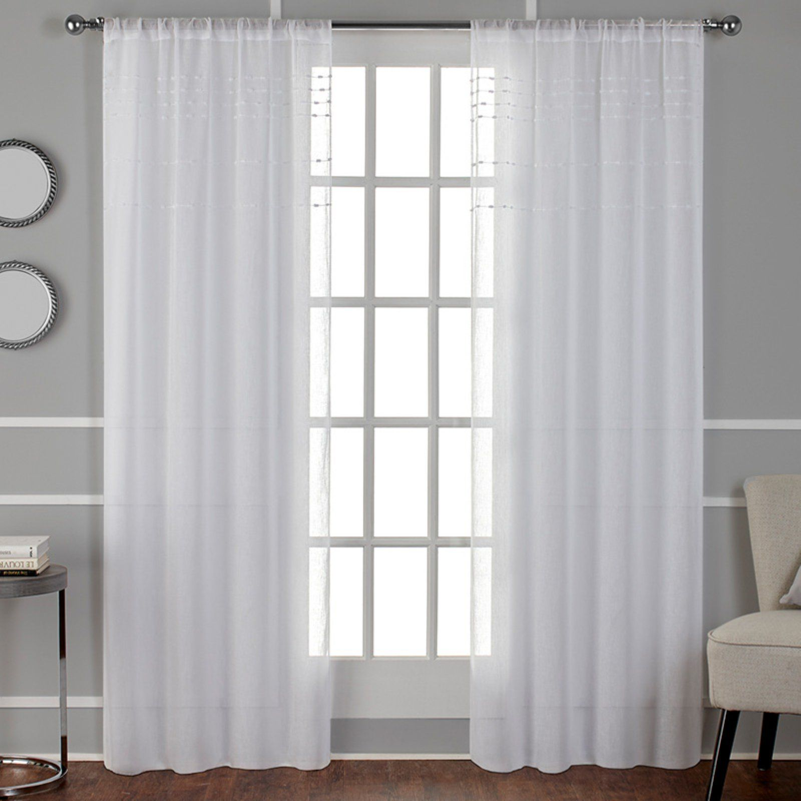 Exclusive Home Davos Puff Embellished Belgian Sheer Window Curtain