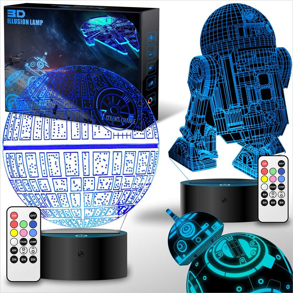 2 Bases Star Wars Gifts 3d Illusion Lamp Star Wars Toys Led Night Light For Kids Star Wars Night Light Star Wars Lamp Star Wars Gifts