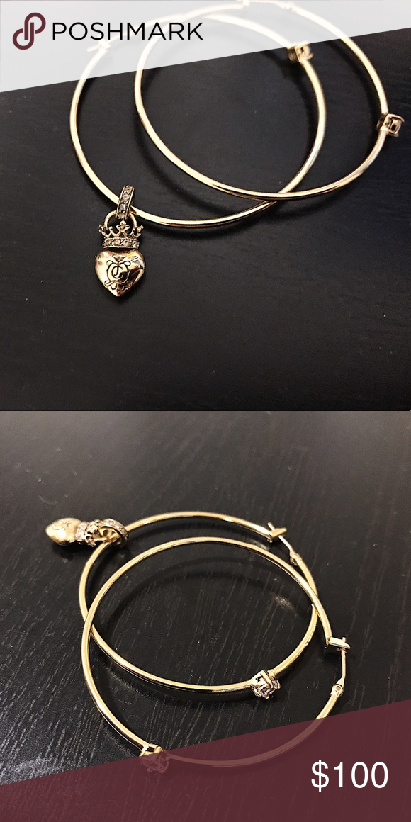 Authentic Juicy Couture Hoop Earrings With Charms Vintage Beautiful Crown Heart Charm On One Of The Hoops