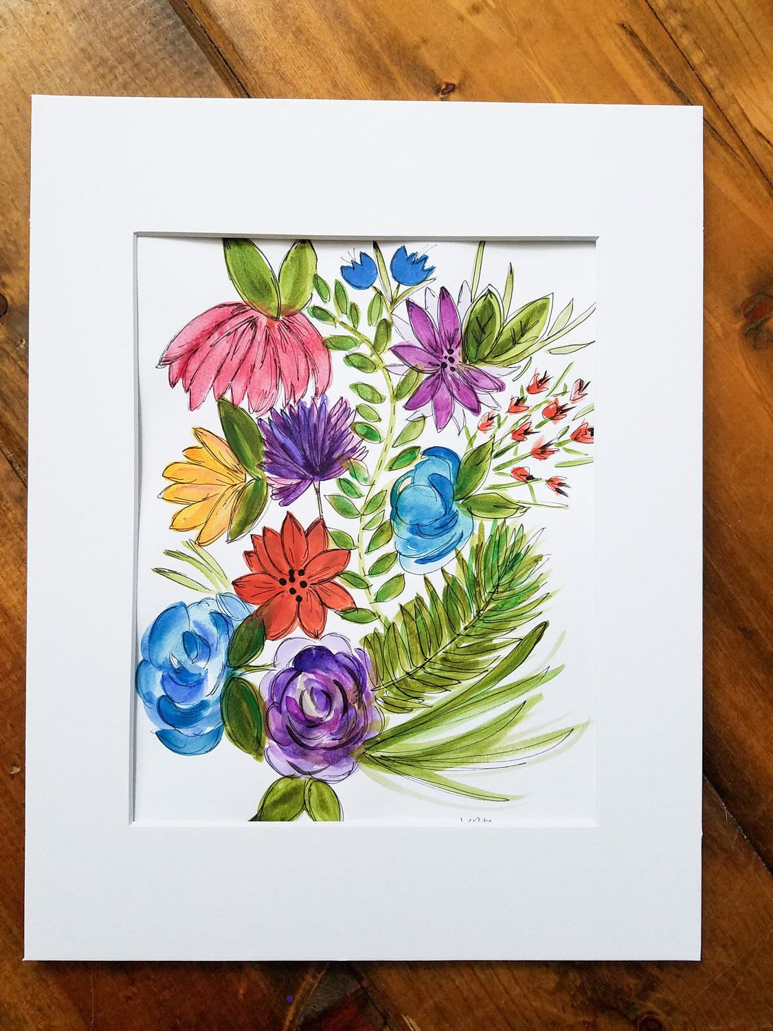 Original Flower Watercolor painting abstract flower watercolor